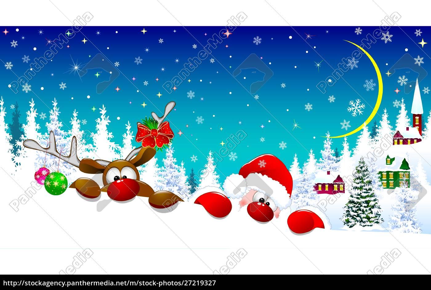 santa, and, deer, on, christmas, night - 27219327