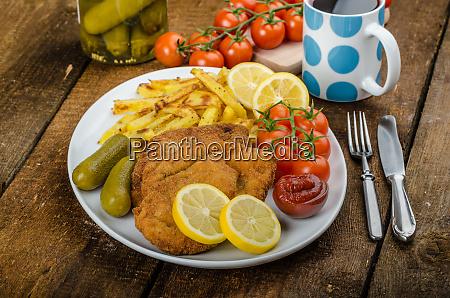 big chicken schnitzel with homemade chilli