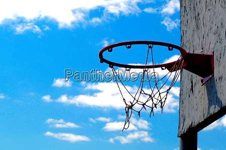 red basketball hoop for streetball against