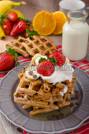 belgian waffles with chocolate chips and