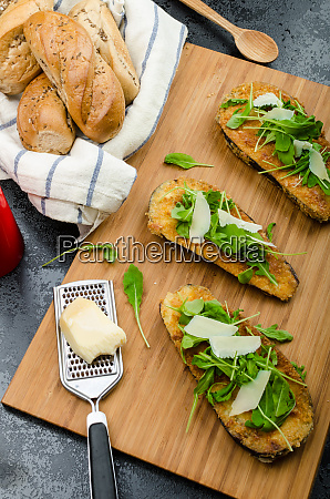 fried eggplant fried in parmesan crust