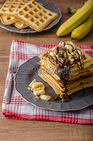 waffles with bananas nuts and chocolate