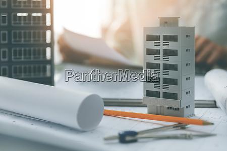 apartment building scale models and blueprints