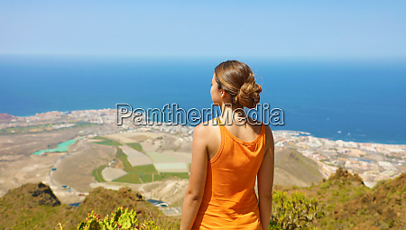 sporty girl on top view enjoying