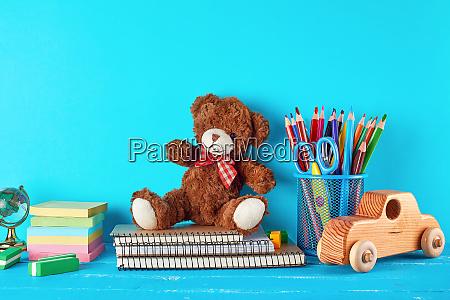 school supplies notebook pencils stickers scissors