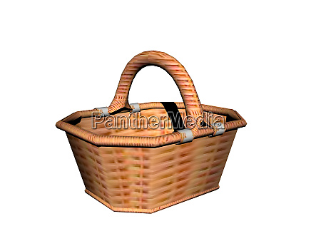 brown wicker wicker basket 3d rendering