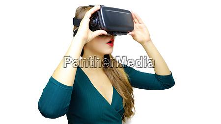 woman looking via virtual reality and