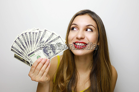image of delighted woman 20s holding