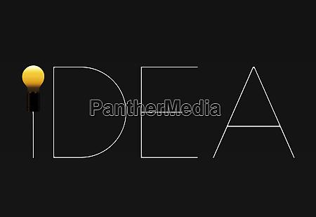 idea light bulb text on a