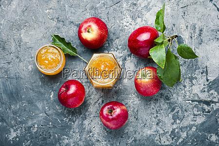 apple jam and fresh fruits