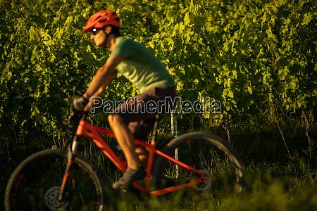 young man biking on a mountain