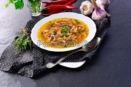 traditional tripe soup in polish style
