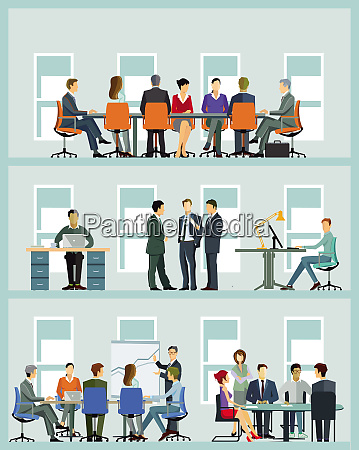 business team at cooperation illustration