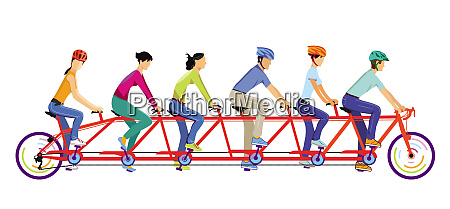 six people ride tandem together
