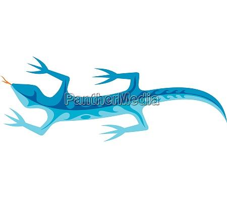 tribal lizard blue