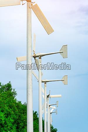 wind turbine with blue sky and