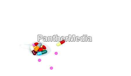 colorful of tablets and capsules pills