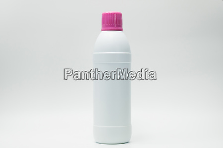 white plastic bottle with pink cap
