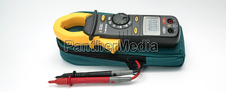 digital clamp meter with probes on
