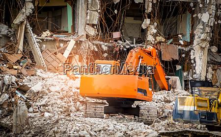 destroyed building industrial building demolition by