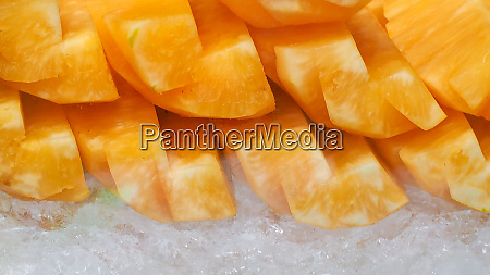 orange or yellow pineapple sliced on
