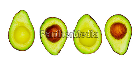 avocado with seed isolated on white
