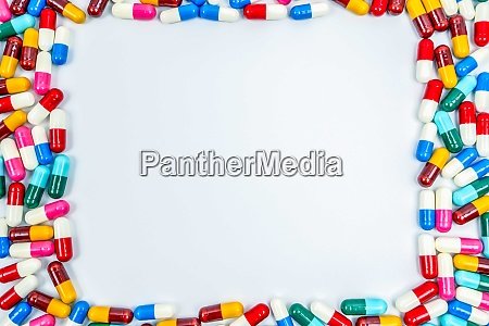 colorful of antibiotics capsule pills rectangle