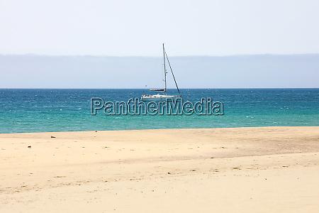 marine landscape with sailing boat white