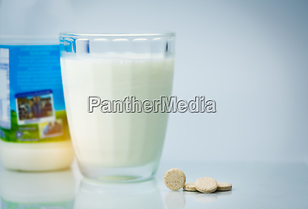 sweetened flavored milk tablets and one