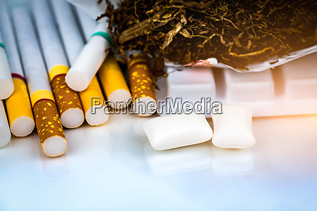 nicotine chewing gum near pile of