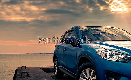 blue compact suv car with sport