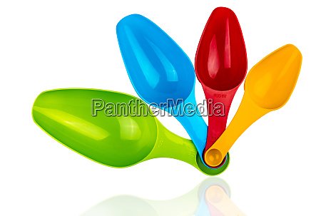 set of colorful plastic measuring spoon