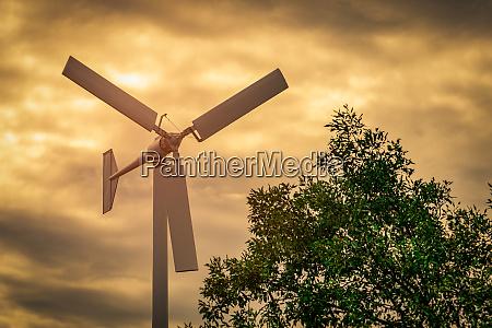 horizontal axis wind turbine with blue