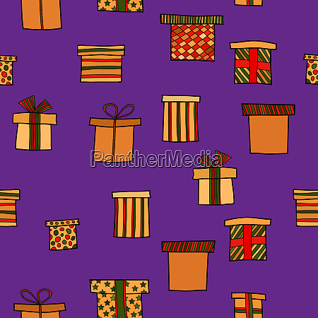 abstract doodle christmas presents seamless