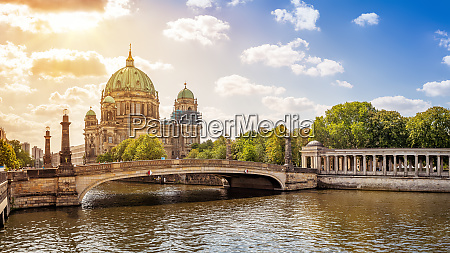 the famous berlin cathedral while sunset