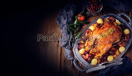 roast duck with potato dumplings and