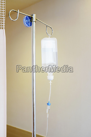 saline solution drip for patient and