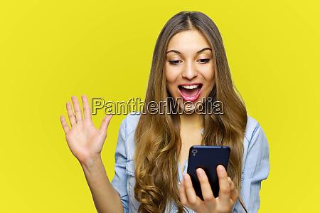 overjoyed happy excited female glad to