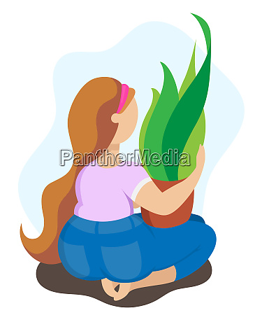 chubby girl holding a pot of