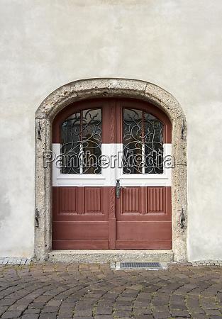 ancient arched wooden door