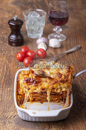 overview of a cooked lasagna on