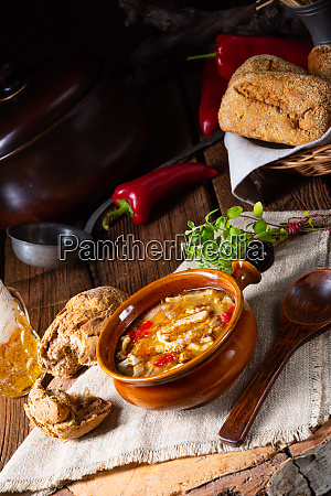 spicy tripe soup with red paprika