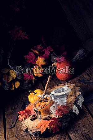 an autumnal rustic canned pumpkin
