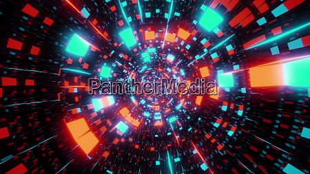 abstract glowing and reflective pattern tunnel
