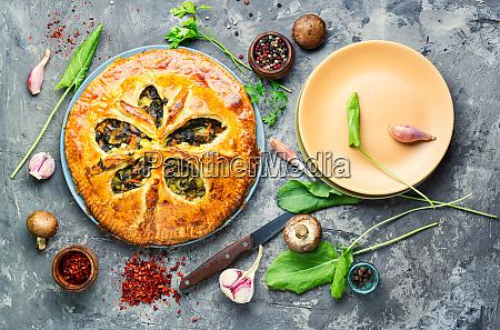 vegetable pie with mushrooms