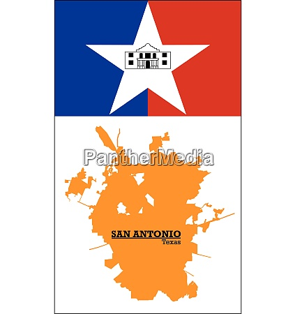 orange silhouette map of san antonio