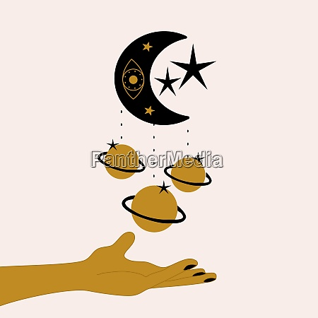 hand and celestial elements illustration vector