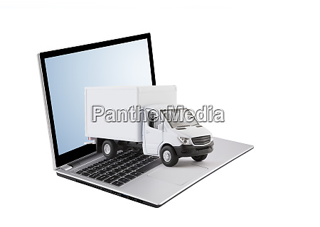cargo delivery truck on laptop isolated