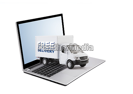 free delivery cargo truck on laptop