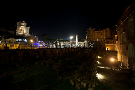 imperial forums night view rome italy